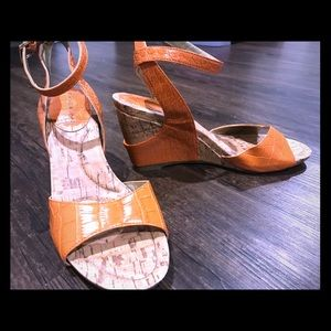 Orange wedge women's sandals